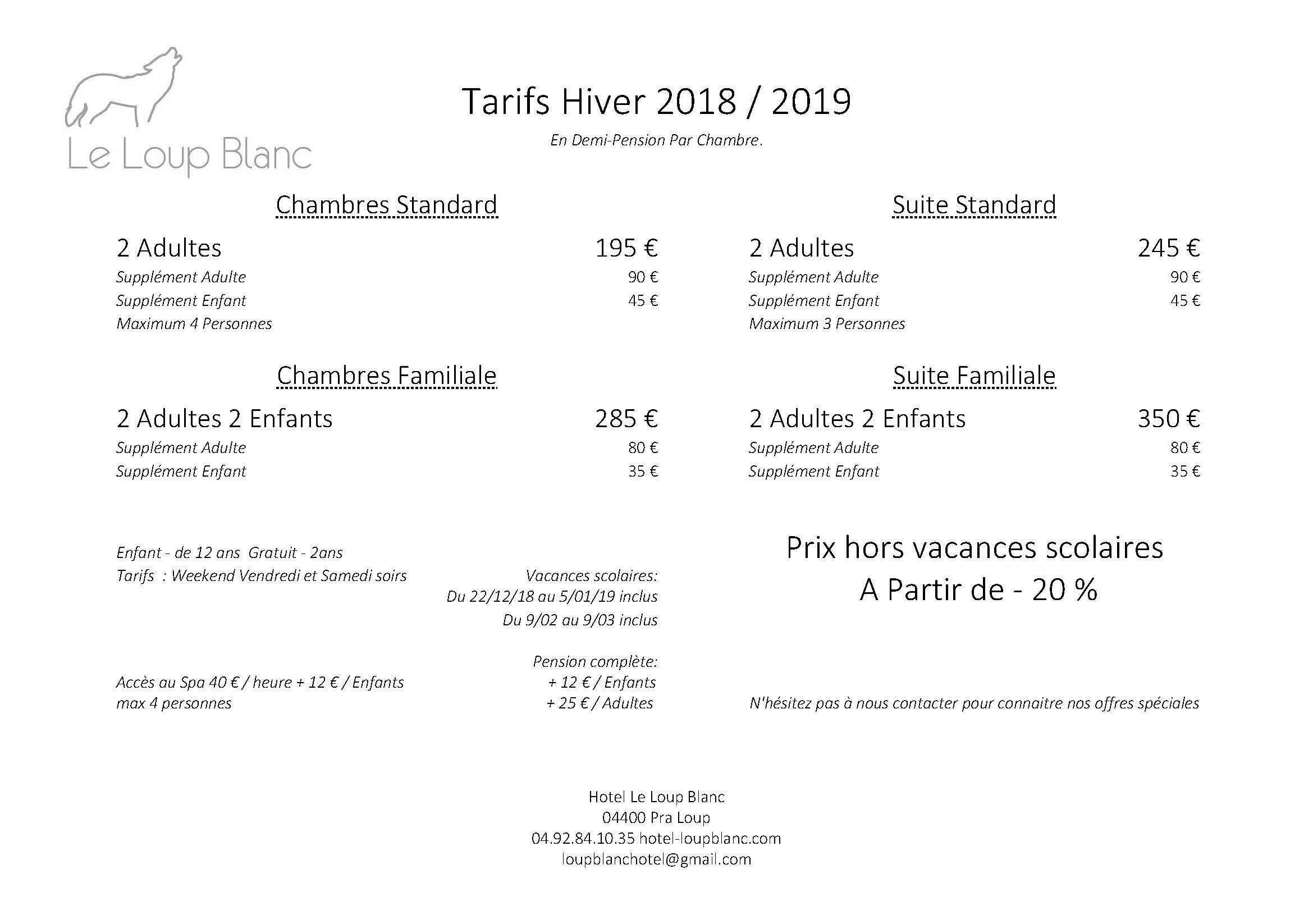 Tarifs Hiver 2018.19